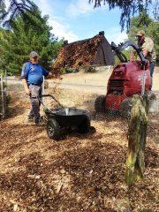 Spreading garden mulch!